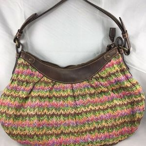 Fossil Woven Straw Tote Shoulder Bag Colorful